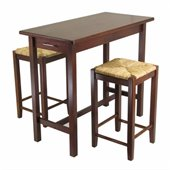 Winsome 3 Piece Kitchen Island Rectangular Casual Dining Set in Antique Walnut
