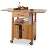 Winsome Butcher Block Kitchen Cart with Drop Leaf in Natural Finish