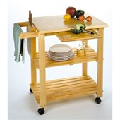 Winsome Utility Butcher Block Kitchen Cart in Natural Finish