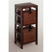 Winsome 3 Piece Shelf and Basket Set in Espresso Beechwood