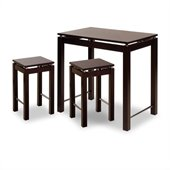 Winsome 3 Piece Island Set - Table with 2 Stools in Espresso