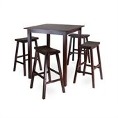 Winsome Parkland 5 Pc Square High/Pub Table Set w/h 4 Saddle Seat Stools in Antique Walnut