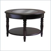 Winsome Whitman Coffee Table with Round Glass Top in Cappuccino