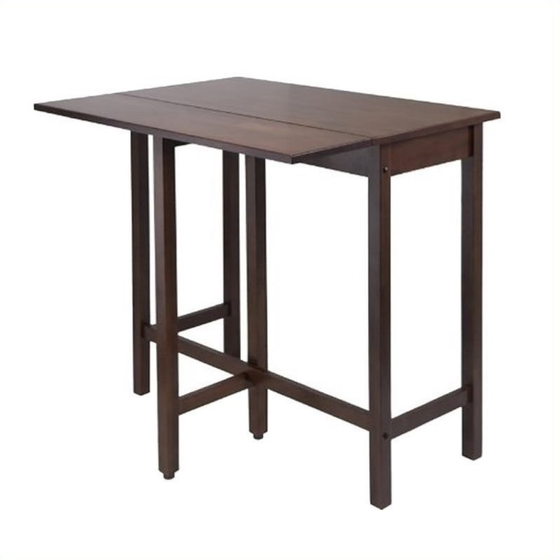 Winsome Lynnwood Drop Leaf High Dining Table in Antique Walnut