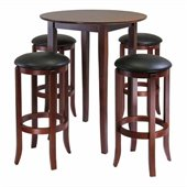 Winsome Fiona 5 Pieces Round High/Pub Table Set in Antique Walnut