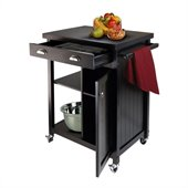 Winsome Timber Kitchen Cart with Wainscot Panel in Black Finish