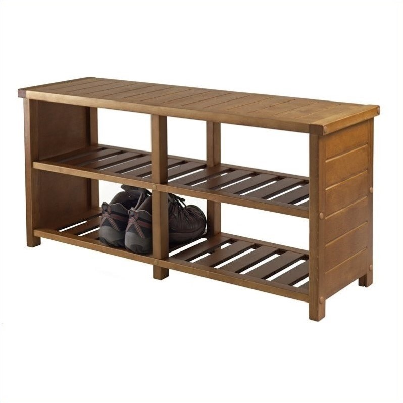 Winsome Keystone Bench Teak Finish Shoe Rack Ebay