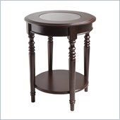 Winsome Whitman Round Glass Top End Table in Cappuccino Finish