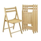 Winsome 4 Piece Folding Chair Set in Beech Finish