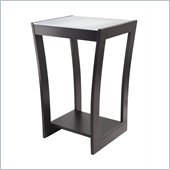 Winsome Radius Glass Top Accent Side Table in Dark Espresso