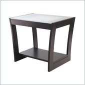 Winsome Radius End Table with Frosted Glass in Dark Espresso