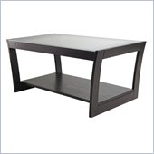 Winsome Radius Coffee Table with Frosted Glass in Dark Espresso