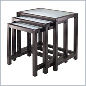 Winsome Copenhagen Nesting Table Set with Glass top in Dark Espresso