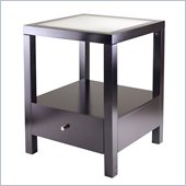 Winsome Copenhagen End Table with Glass Top in Dark Espresso Finish