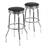 Winsome Summit Swivel Bar Stools in Black/Metal Finish (Set of 2)