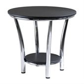 Winsome Maya Round End Table Top with Legs in Black/Metal Finish