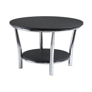 Winsome Maya Round Coffee Table Top with Legs in Black/Metal Finish
