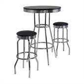 Winsome Summit 3 Piece Round Pub Set in Black/Metal Finish