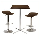 Winsome Kallie 3 Piece Square Pub Set w/ AirLift Stools in Cappuccino