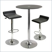 Winsome Rossi 3 Piece Round Pub Set with Air Lift Stools in Black