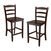 Winsome 24 Counter Ladder Back Stool in Antique Walnut (Set of 2)