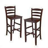 Winsome 29 Bar Ladder Back Stool in Antique Walnut Finish (Set of 2)