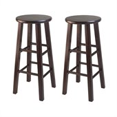 Winsome Square Leg 29 Bar Stool in Antique Walnut Finish (Set of 2)