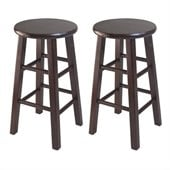 Winsome 24 Counter Stool Square Leg in Antique Walnut (Set of 2)