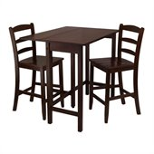 Winsome Lynnwood 3 Piece Square Dining Set in Antique Walnut Finish