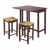Winsome Lynnwood 3 Piece Drop Leaf Dining Set in Antique Walnut