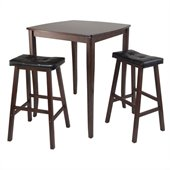 Winsome Inglewood 3 Piece Square Pub Dining Set in Antique Walnut