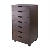 Winsome Halifax Cabinet for Closet/Office with 7 Drawers in Antique Walnut