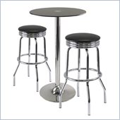 Winsome Rossi 3 Piece Pub Set with Swivel Stools in Black