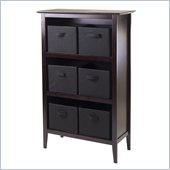 Winsome Toscana Storage Shelf with 6 Black Baskets in Espresso
