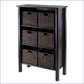 Winsome Liso Storage Shelf with 6 Small Baskets in Dark Espresso
