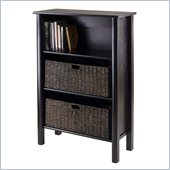 Winsome Liso Storage shelf with 2 Large Baskets in Dark Espresso