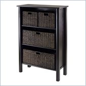 Winsome Liso Storage Shelf with 4 Baskets in Dark Espresso