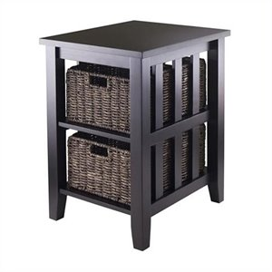 Winsome Morris Side Table with Two Foldable Baskets in Espresso