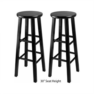 Winsome Obsidian Counter Stool in Black (Set of 2)