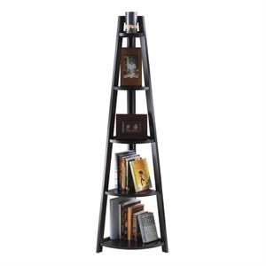 Winsome Adam 5-Tier A-Frame Corner Book Shelf in Black