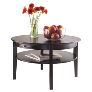 Winsome Amelia Round Coffee Table with Pull out Tray in Dark Espresso