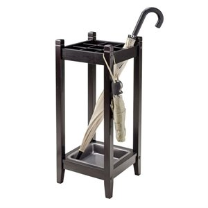 Winsome Jana Umbrella Stand with Metal Tray in Espresso