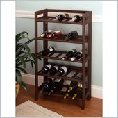 Winsome Regalia Contemporary Antique Walnut Wine Rack