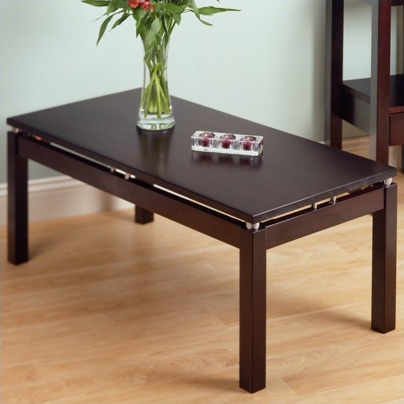 Linea Solid Wood Coffee Table in Espresso