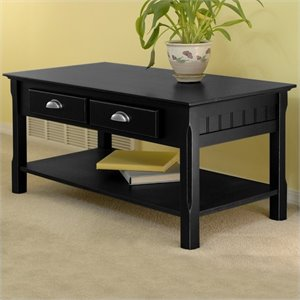 Winsome Timber Solid Wood Coffee Table in Black