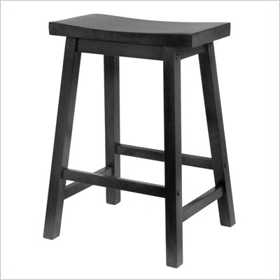 Winsome 24&quot; Counter Height Saddle Seat Bar Stool in Black