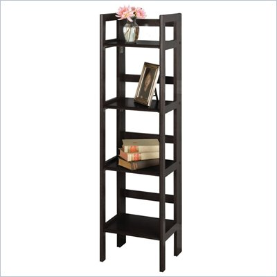 Winsome 52&quot;H 4 Tier Folding Wood Bookshelf in Black Beechwood