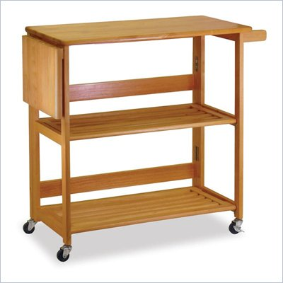 Winsome Foldable Butcher Block Kitchen Cart in Light Oak