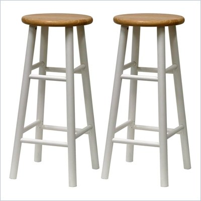 Winsome Basics 30&quot; Bar Stools in Natural/White (Set of 2)
