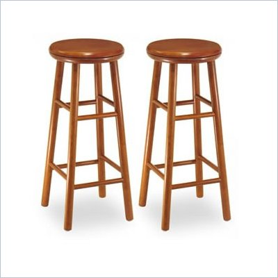 Winsome 30&quot; Backless Swivel Bar Stools in Cherry (Set of 2)
